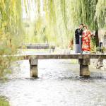 京都白川での橋の上での前撮り写真