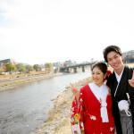 鴨川にて結婚式の前撮り撮影