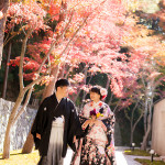 日本庭園で前撮り