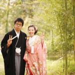 竹林での結婚式前撮り