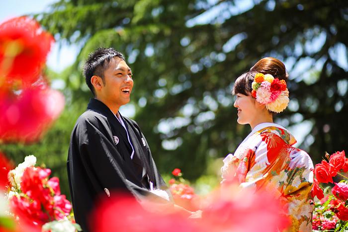 花に囲まれて和装前撮り