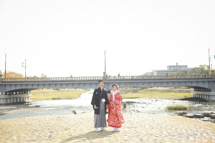 鴨川での前撮り写真
